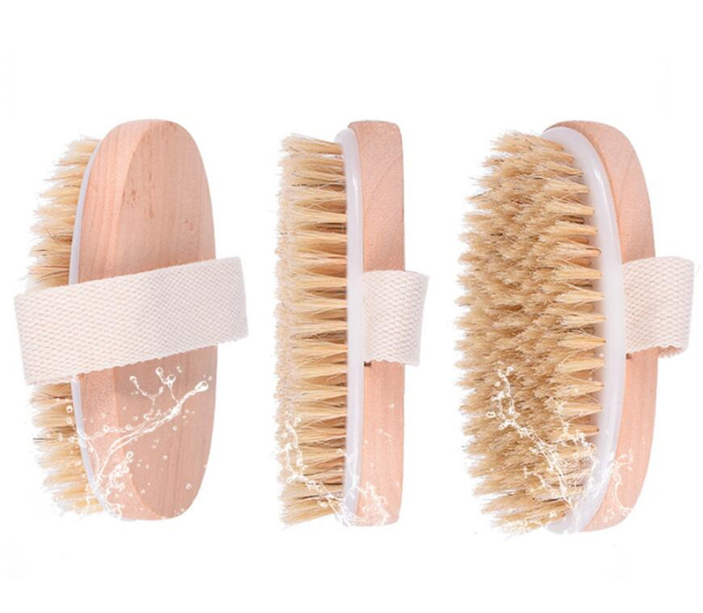 New 30pcs/lot Dry Skin Body Brush Soft Natural Bristle Shower Brushes Wooden Bath Shower Bristle Brush SPA Body Brushes