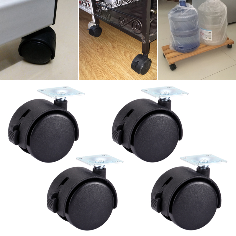 Myhomera 4Pcs Furniture Wheel Furniture Caster 40mm 48mm Plate with Brake Swivel Castor Wheels Replace Trolley Cart Roller Black