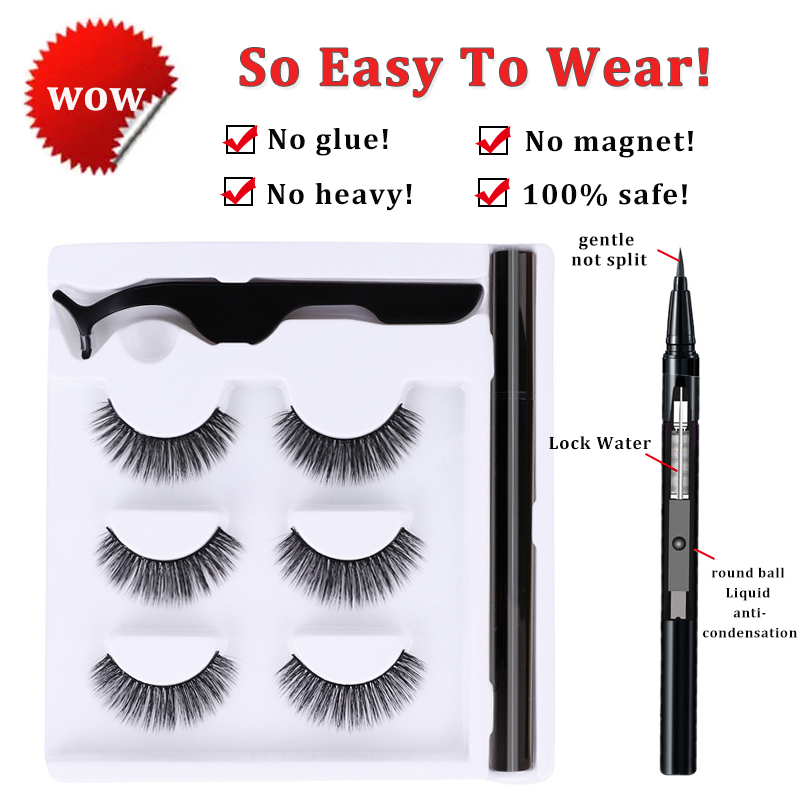 3 pairs self adhesive lash liner eyeliner pen set no magnetic eyelashes extension wholesale faux cils magnetique makeup tool 1