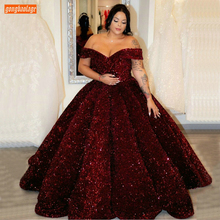Formal Dresses Ball-Gown Sequin Sparkly Burgundy Pageant Off-Shoulder Long Lace-Up Reflective