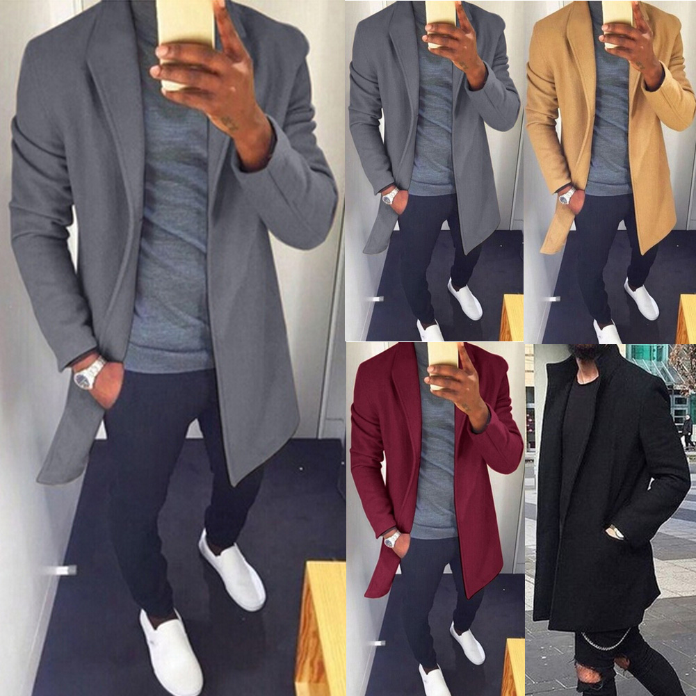 M-XXXL Autumn Winter Men Casual Coat Thicken Woolen Trench Coat Business Male Solid Classic Overcoat Medium Long Jackets Tops 5