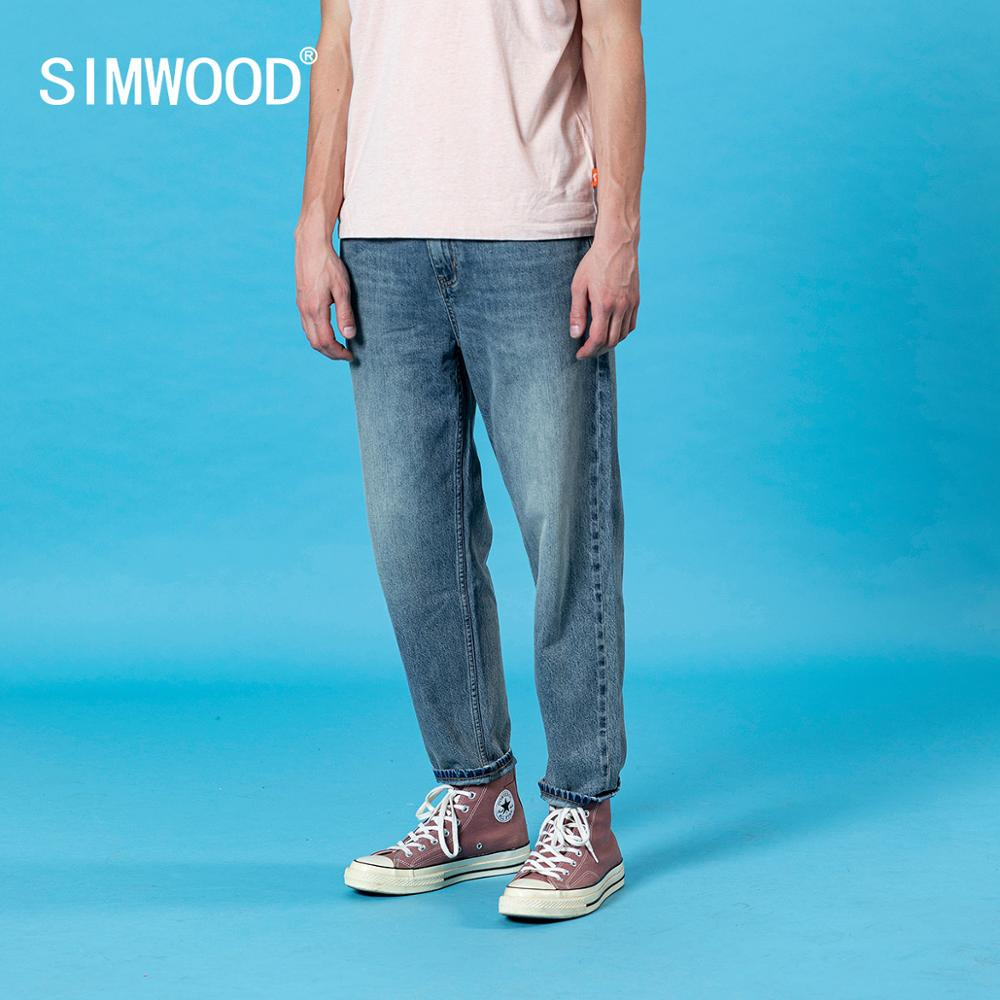 SIMWOOD 2020 Summer New Laser Wash Loose Tapered Jeans Men Classical Ankle-length Casual Denim Trousers Plus Size Cotton Pants