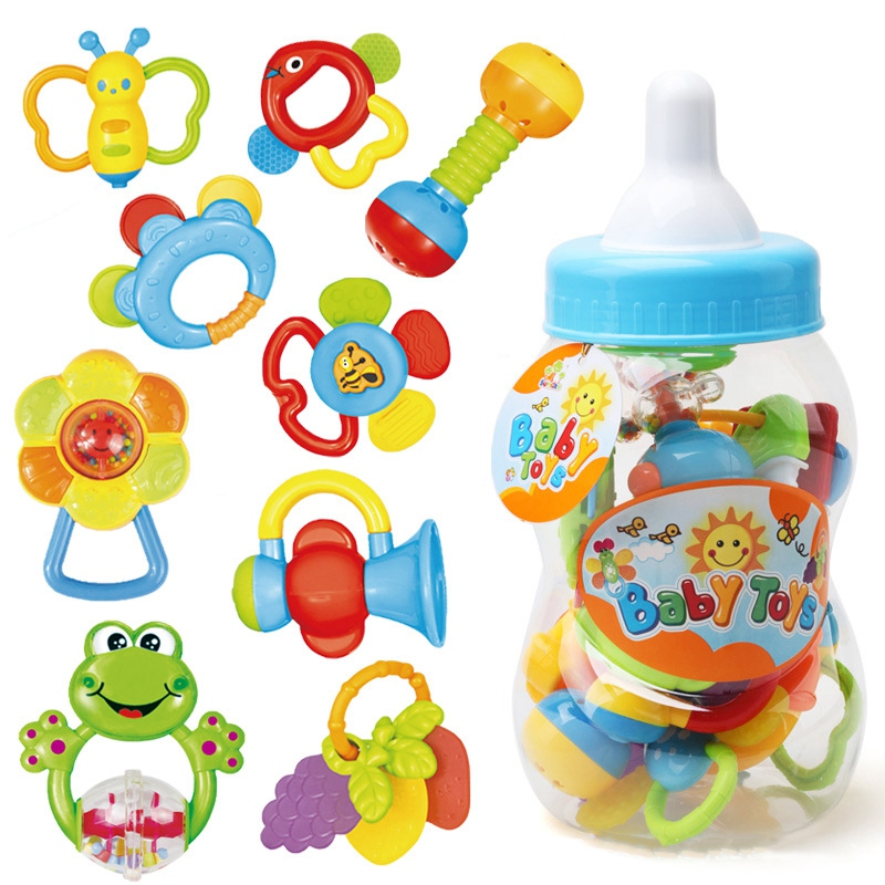 Infant Rattle Teething Baby Toys Bottle Storage Shake Baby Hand Development Teethers Toy Set Newborn Toddler For Children