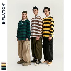 Image 2 - INFLATION Men Autumn Striped Tshirt Men Streetwear Turn Down Collar T shirt Long Sleeve Tees For Men 100% Cotton Shirts 91504W