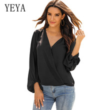 YEYA Solid V-neck One Button Lantern Sleeves Casual Loose Personality Cross T-shirt Top Elegant Hollow Out Femme Casual Top button front v neck solid top