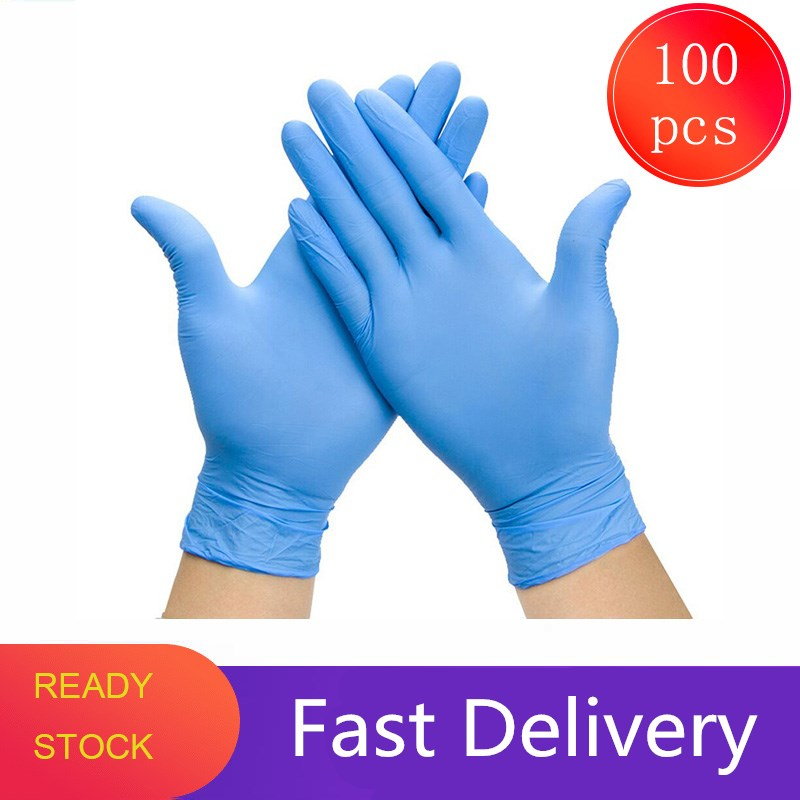 100pcs Disposable Nitrile Medical Gloves Medical Waterproof Exam Gloves Ambidextrous For Medical House Gloves Guantes De Nitrilo