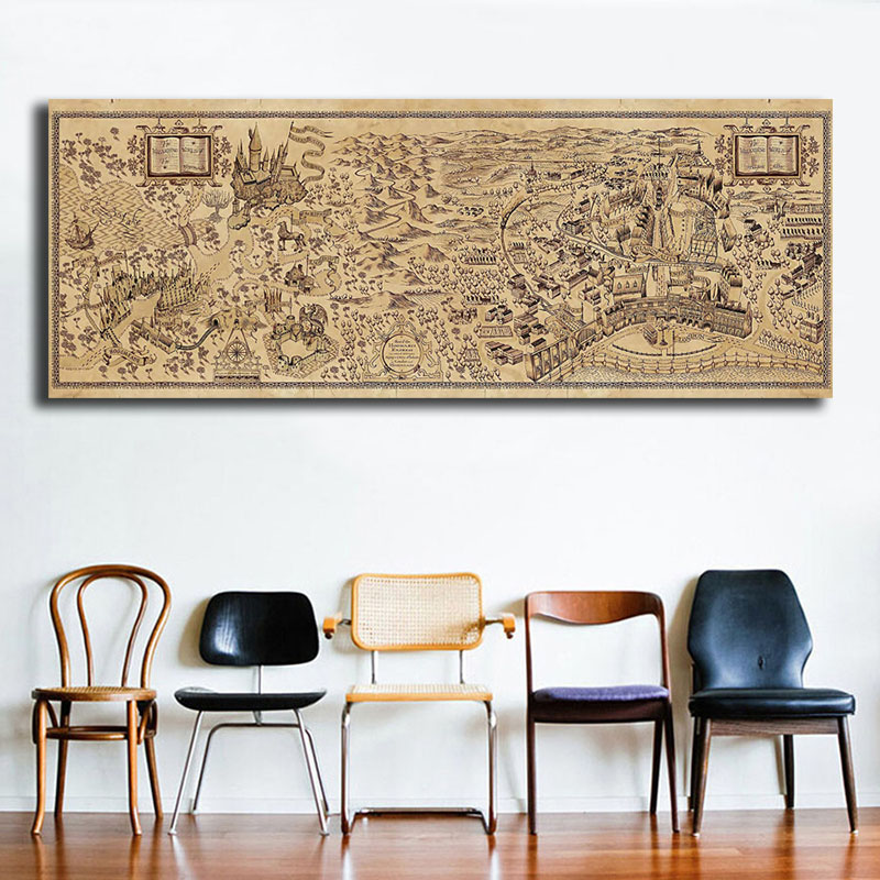 Harries Magic World Map Poster Potteres Vintage Canvas Painting  Prints Modular Wall Art HD Picture For Reading Room Home Decor