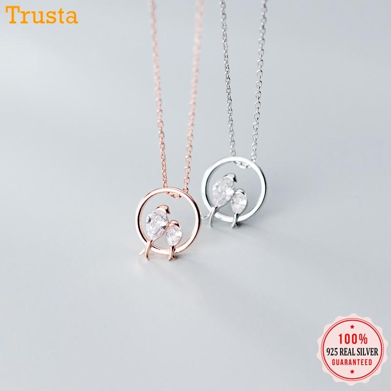Trustdavis 100% 925 Sterling Silber Schillernde Vogel In Liebe CZ Anhänger Choker Halskette Für Frauen Mädchen Silber 925 Schmuck DA462