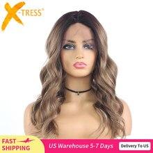 Perruque Lace Front Wig synthétique ondulée naturelle ombrée, brune, noire, Blonde, longueur aux épaules, résistante à la chaleur, X-TRESS