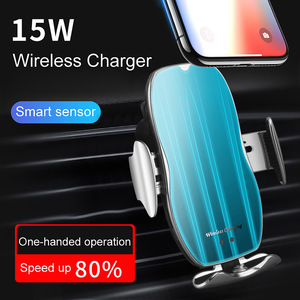 Image 4 - Automatische 15W Snelle Auto Draadloze Oplader Voor Samsung S20 S10 Iphone 12 11 Xs Xr 8 Magnetische Usb Infrarood sensor Telefoon Houder