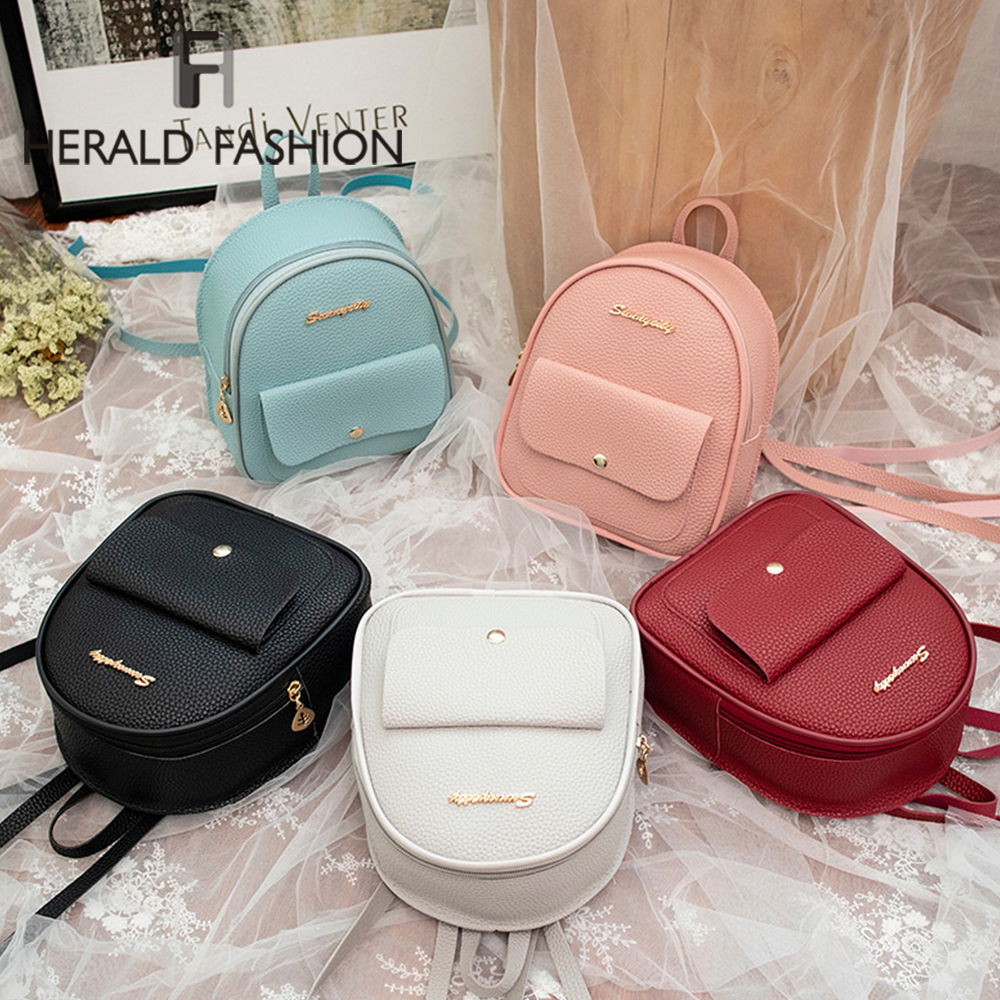 Herald Fashion Small Quality Women Backpack Leather Shoulder Bag For Teenage Girl Multi-Function Mini Bagpack Ladies Phone Bag