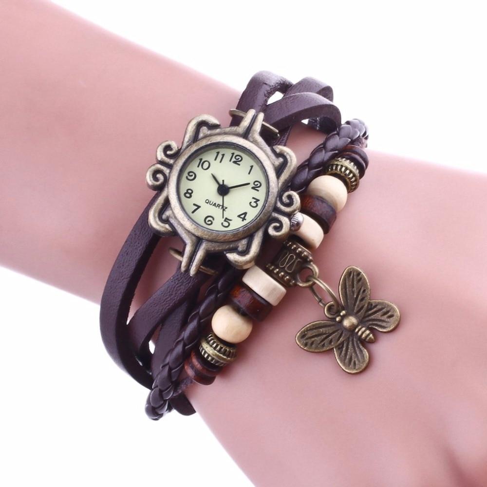 Women Charm Leaf Ethnic Geneva Style Leather Bracelet Watch Bracelets&Bangles Vintage Lady Jewelry Cheap Gift