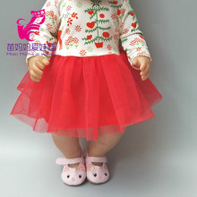 For baby doll clothes shirt red lace Christmas snow tree reindeer dress for 18 inch girl doll dress children girl gifts(China)