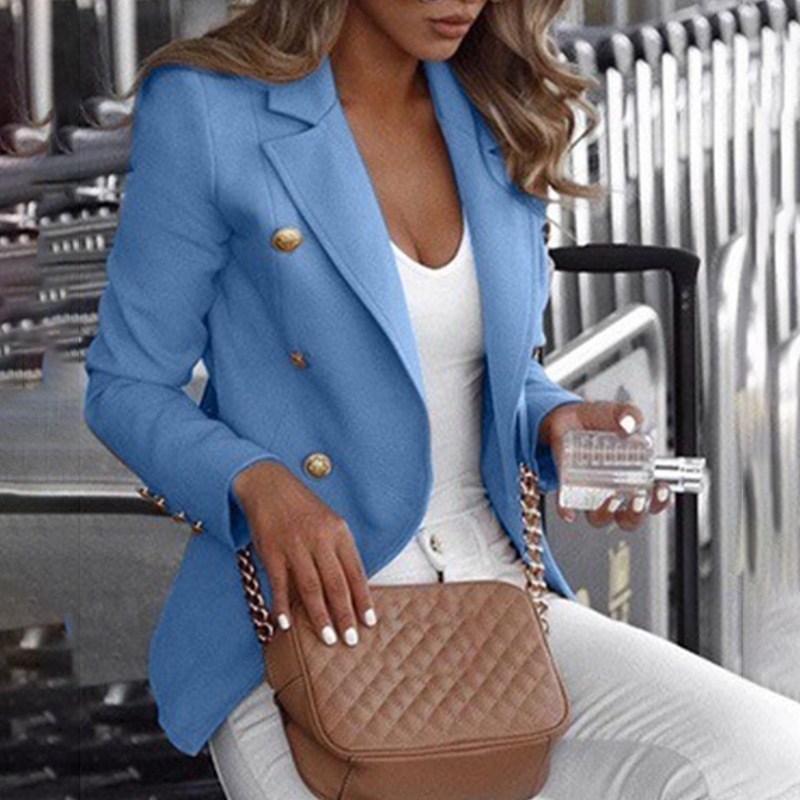 Plus Size 5XL Autumn Formal Office Lady Women's Blazer Coat Notched Long Sleeve Blazers Female 2019 Spring Double Breasted Tops