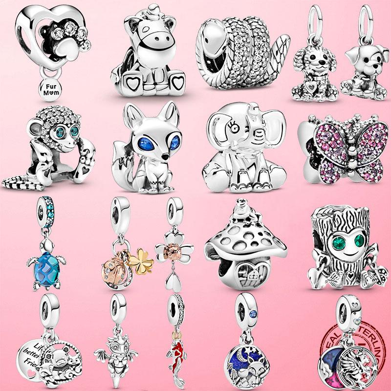 2021 925 Sterling Silver Turtle Fluffy Llama Snake Fox Dangle Charm ladybug Koala Beads Fit Original Pandora Bracelet Jewelry