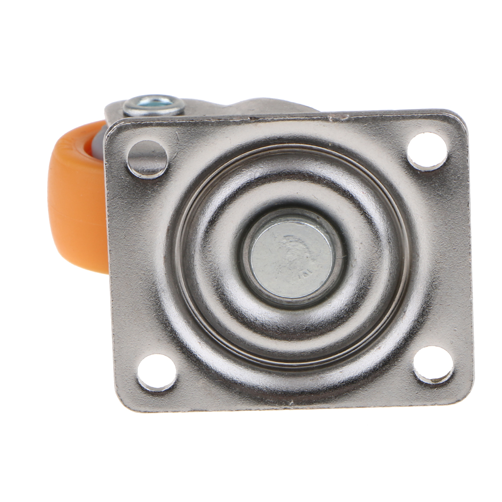 Set of 4 1 inch Low Profile Casters Wheels Soft Rubber Swivel Caster with 360 Degree Top Plate 28.66lb Total Capacity (Orange)