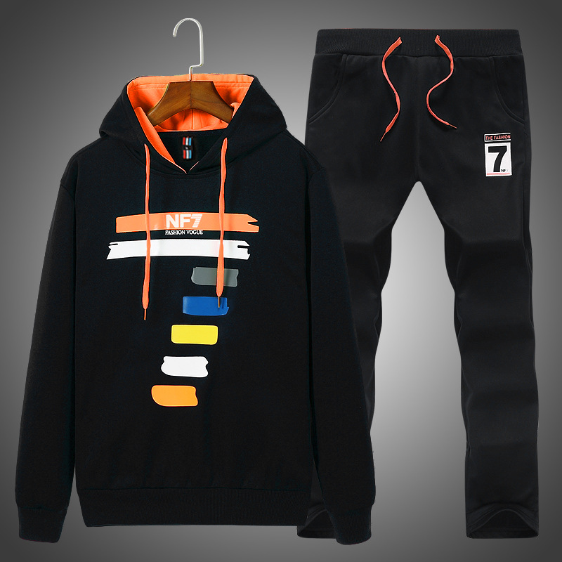 Autumn Men Hoodie Suit Large Size Teenager Korean-style Hooded Students Casual Spring Clothing Sports Two-Piece Set