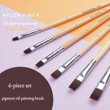 Stationery Paint-Brush Watercolor Hair-Oil Art-Supplies Nylon Fiber 6pc Short-Rod Level-Head