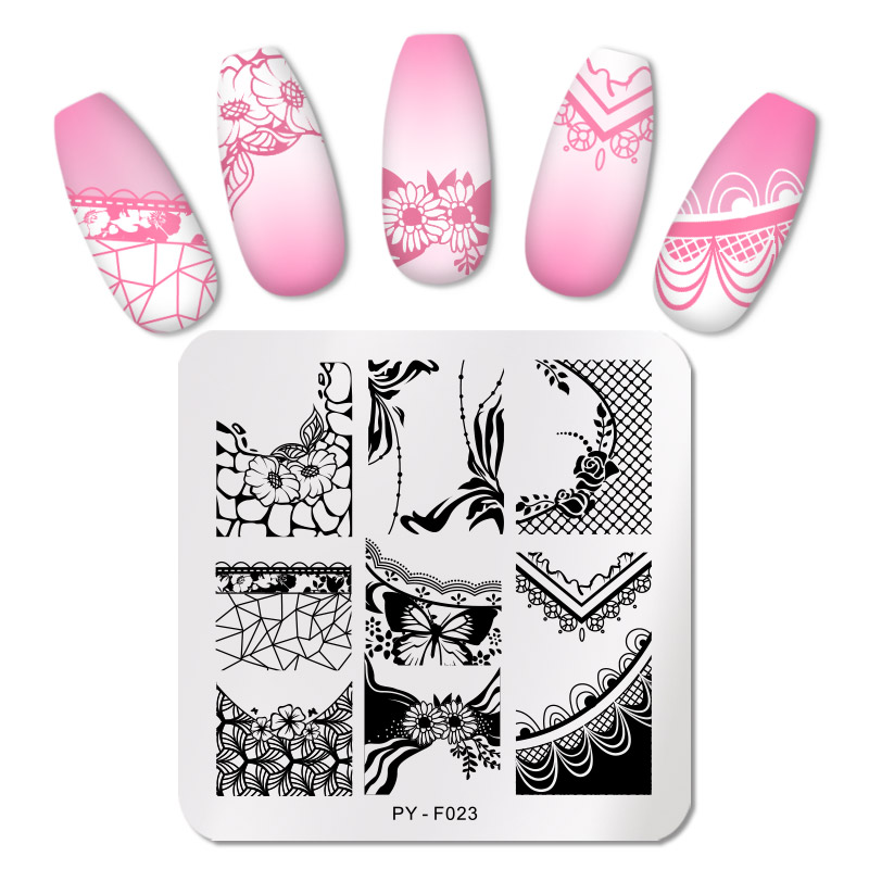 PICT YOU Nail Stamping Plates Square Lace Series Nail Art Stamp Plate Design For DIY Image Plate Stainless Steel Stencil Tools