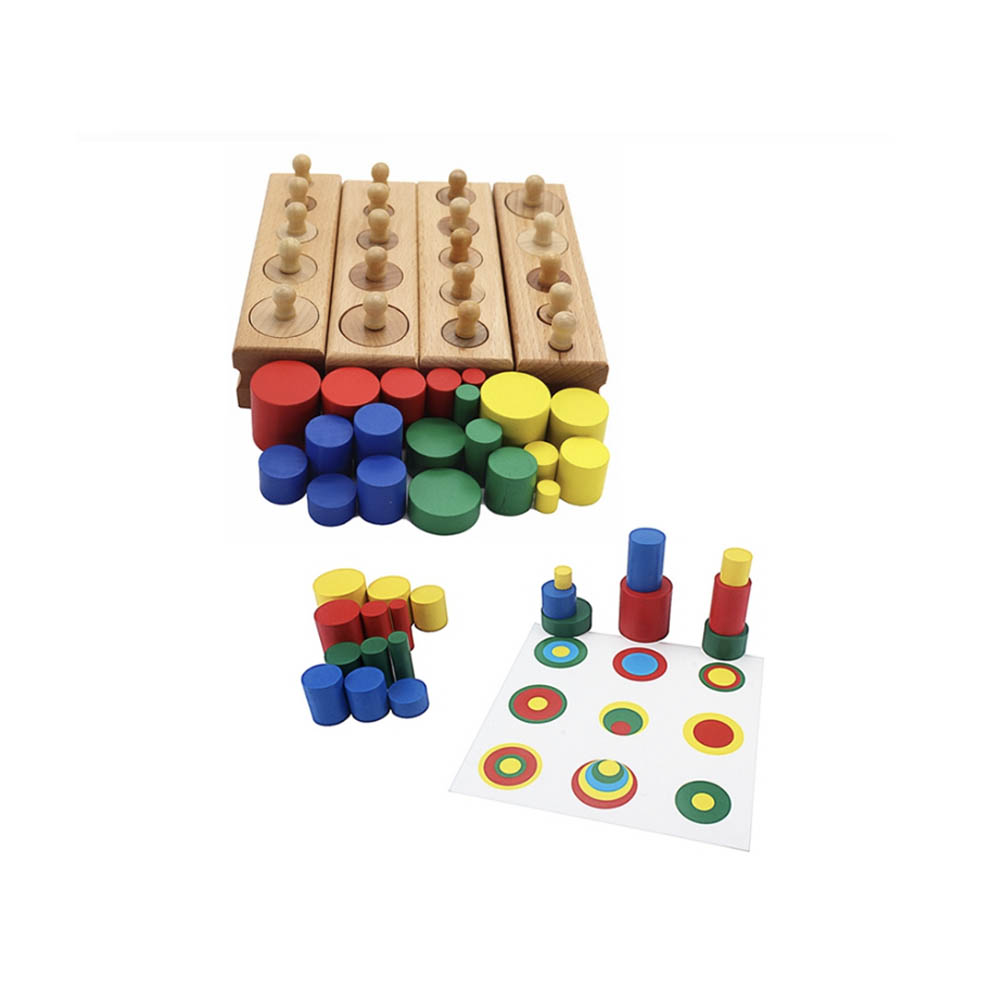 Kids Wooden Toys Colorful Cylinder Socket For Children Montessori Educational Baby Development Practice And Senses 4pcs/1 Set