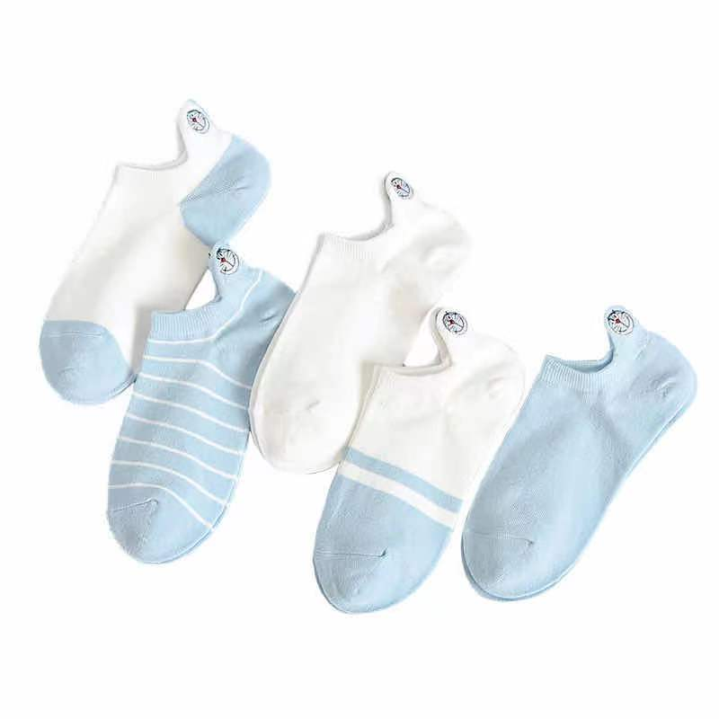 Fashionable socks children boat socks cotton thread shallow mouth low top heel embroidery Korean Lovely Japanese Korean spring