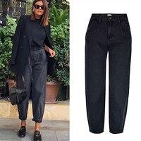 Frühling herbst mode baumwolle denim jeans frauen 2020 neue hohe taille schwarz retro harem gewaschen büro dame Casual jeans weibliche k344