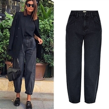 Spring autumn fashion cotton denim jeans women 2020 new high waist black retro harem washed office lady Casual jeans female K344