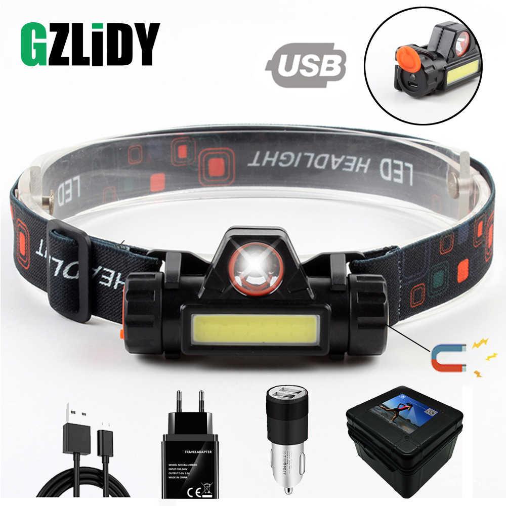 防水 LED ヘッドランプ COB ワークライトマグネットと 2 ライトモードヘッドライト内蔵 18650 バッテリーのためのスーツ、キャンプ、など。