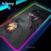Dark Souls-alfombrilla de ratón RGB para Gamer, alfombrilla de ratón de Notbook de 90x40cm, grande, moderna, con luz Led, para escritorio y PC