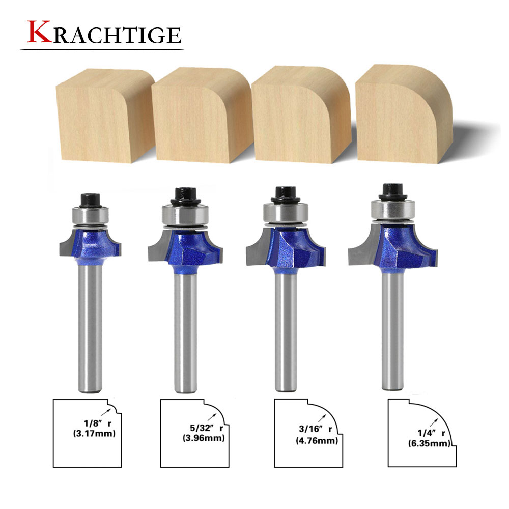 Krachtige 6MM/6.35MM Shank Corner Round Professional Level Over Router Bit With Bearing Milling Cutter For Wood
