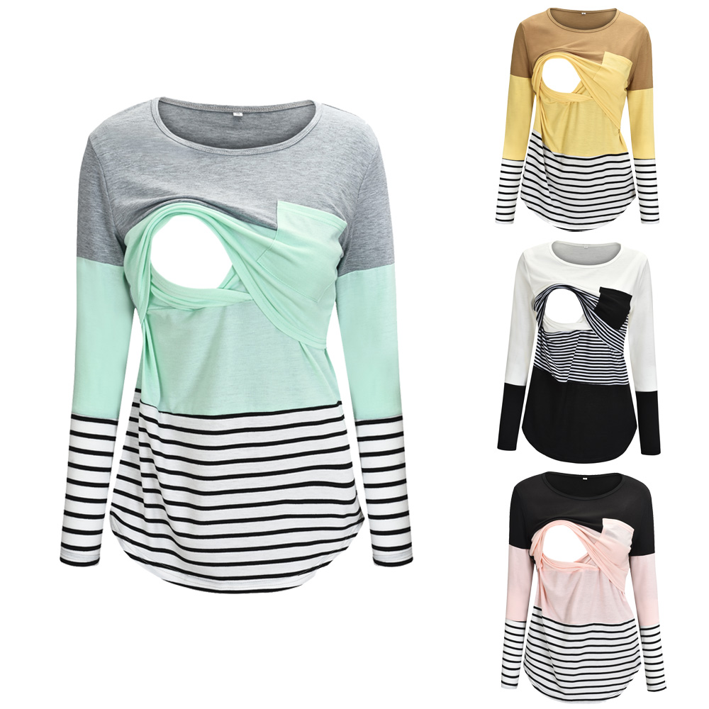 Women Maternity Clothes Breastfeeding Pregnant Stripe T-Shirt nursing Tops title=