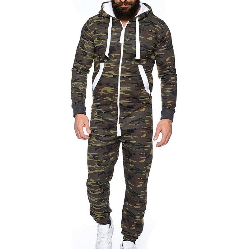 Autumn Winter Men's Zipper Jumpsuit Patchwork Sportswear Casual Hooded Sportswear With Pocket Thick -piece Playsuit