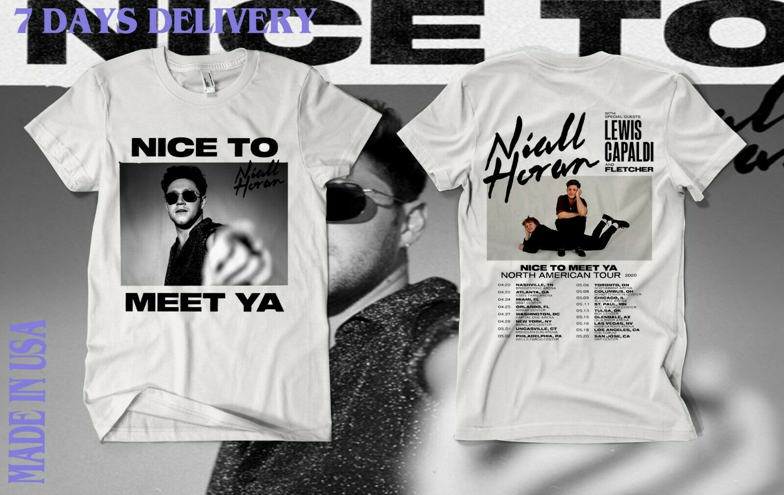 Niall Horan Announces 'Nice To Meet Ya' North American Tour 202,Shirt Sz S-5Xl