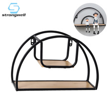 Strongwell Nordic Wrought Iron Semicircular Wall Shelf Storage Rack Jewelry Decoration Home Accessories Simple