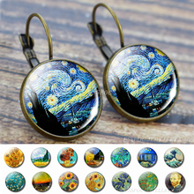 Van Gogh Earring Glass Cabochon Jewelry Starry Night Sunflower Ear Hook Fashion France Stud Earrings Women Dropshipping