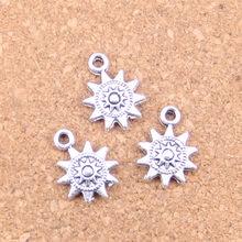 126 Uds Charms sun 17x12mm colgantes antiguos, joyería de plata tibetana Vintage, DIY para collar de pulsera