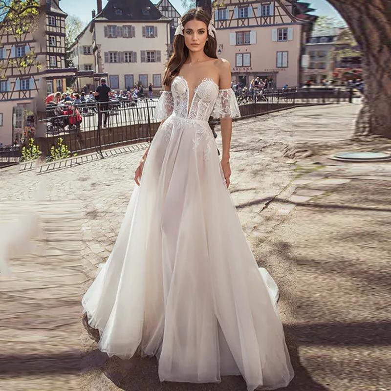 Verngo A Line Wedding Dress Boho Lace Appliques Tulle Wedding Gowns 2020 Elegant Strapless Bride Dress Vestidos De Noiva