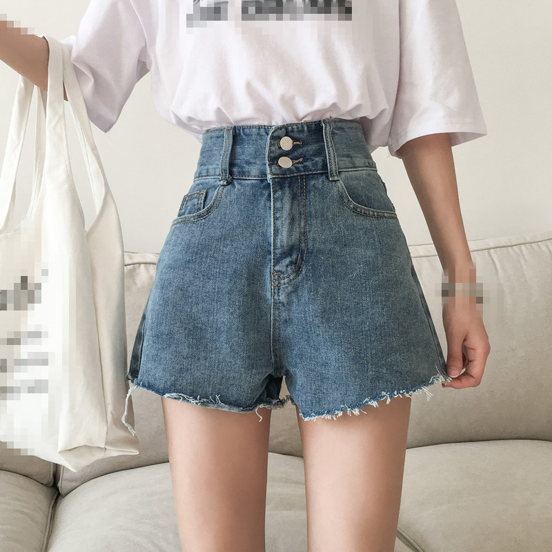 ZB4111 2020 summer new women fashion high-waisted plus-size student loose broad leg denim shorts cheap wholesale