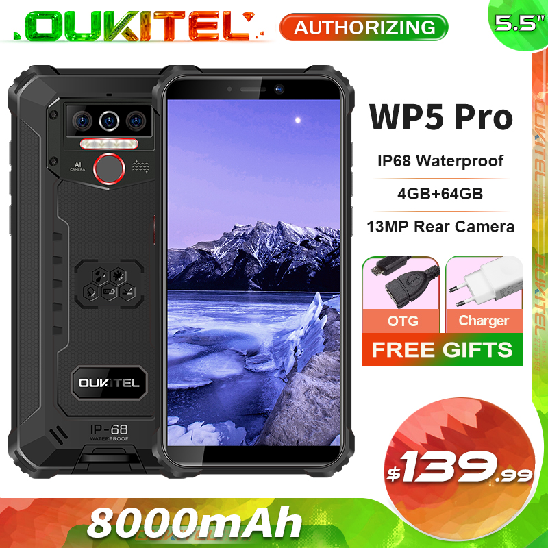 OUKITEL WP5 Pro IP68 водонепроницаемый смартфон, 8000 мАч, Android 10, тройная камера, распознавание лица/отпечатков пальцев, 5,5 дюймов, 4 Гб 64 ГБ, мобильный т...