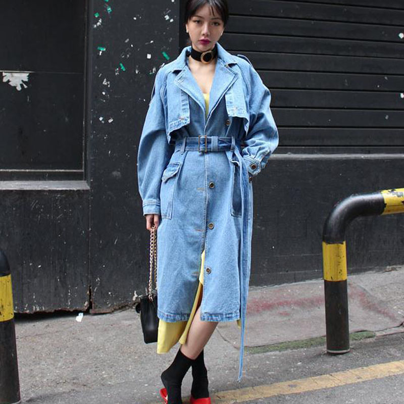 S-XL Plus Size Korean Long Denim Coat For Womens With Belt Turn Down Collar High Street Loose Autumn Jeans   Trench   Coat Outwear
