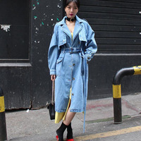 S XL Plus Size Korean Long Denim Coat For Womens With Belt Turn Down Collar High Street Loose Autumn Jeans Trench Coat Outwear