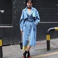 S-xl Большие размеры корейский стиль длинное джинсовое пальто для женщин с поясом отложной воротник высокое уличное свободное осеннее джинс...