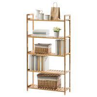 Bamboo book shelf home organization and storage room organizer bathroom goods simple frame bookrack Brief books rack stand