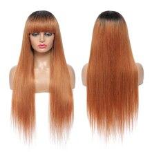 Human-Hair-Wigs Non-Remy Bangs Brown Black Full-Machine Straight Ombre Women Brazilian