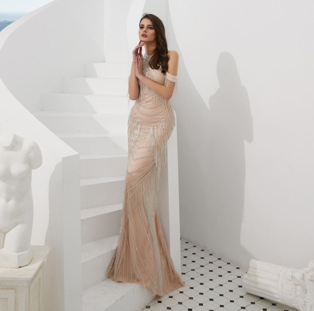 Robes de soirée sans manches col haut longueur de plancher Champagne robes de soirée formelles Robe de soirée sirène dubaï