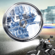 ABS plastic 12V 7inch Motorcycle Round H4 Headlight Halogen Bulb Head Lamp Side Mount Style For auto accessories