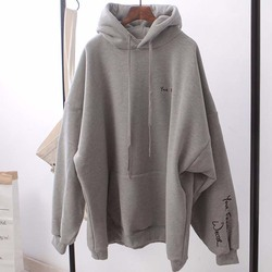 Winter Oversized Hoodies Blanket Women Casual Letter Print Pullover Black Sweatshirt Female Solid Grey Clothes Movement Toppies