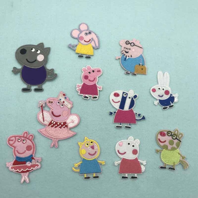 Cute Peppa Pig Embroidery Patch Applique Ironing Clothing Sewing Supplies Cartoon Decorative Badges Sticker For Clothing