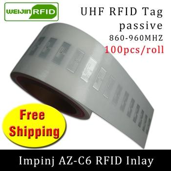 UHF RFID Tag EPC 6C Sticker Impinj MR6 AZ-C6 Wet Inlay 915mhz868mhz860-960MHZ 100pcs Free Shipping Adhesive Passive RFID Label