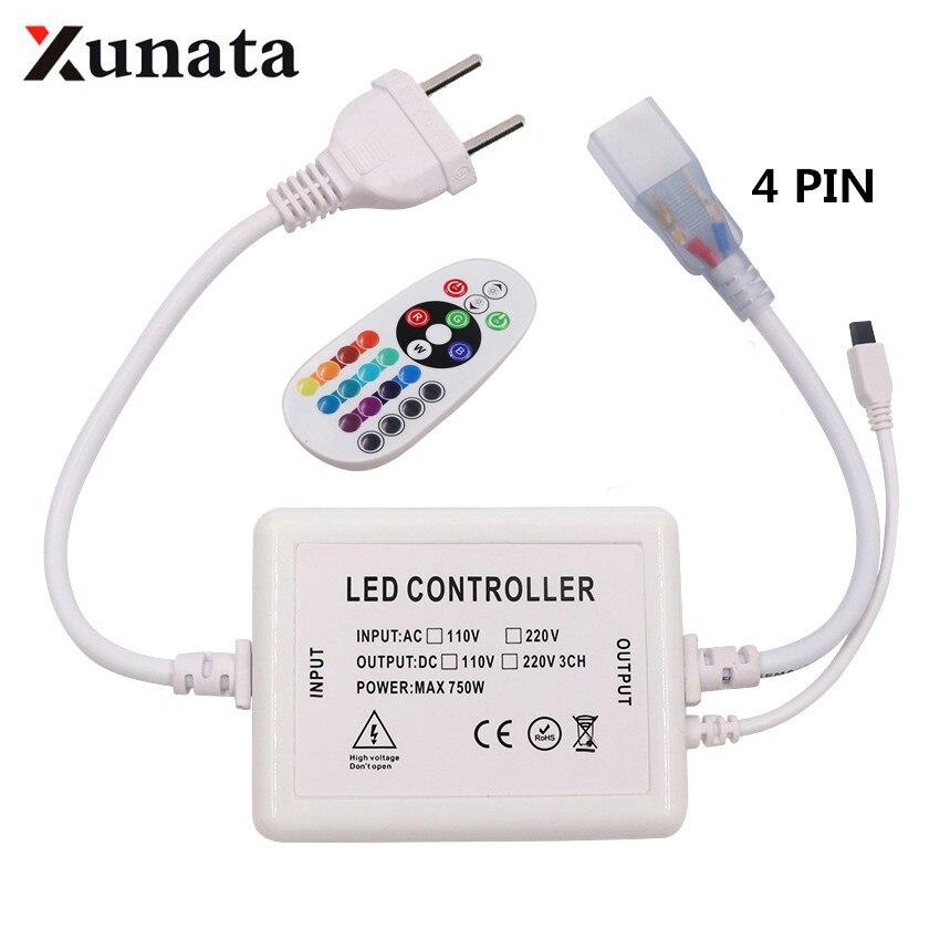 US110V EU AU UK 220V Dimmer With 24key IR Remote Controller 4pin 750W For 5050 2835 RGB LED Strip Neon Light
